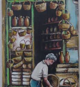 Greek Basket Weaver Painting on Wood