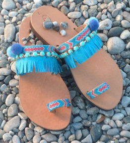 Greek Leather Sandals Turquoise Blue Pom Pom