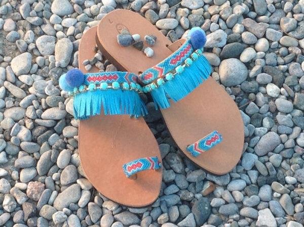 Greek Leather Sandals Turquoise Blue Pom Pom