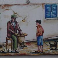 Greek Chestnut Seller Painting on Wood