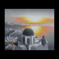 Gray Santorini and Sun Painting