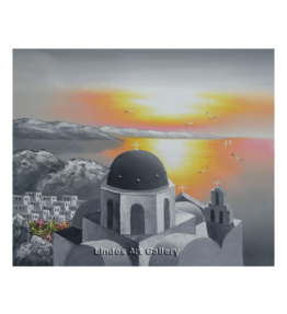 Gray Santorini and Sun Painting