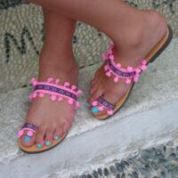 Greek Leather Sandals Hot Pink Pom Poms Boho