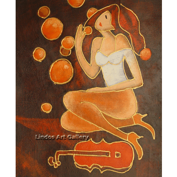 Lady with Violin Textured Painting