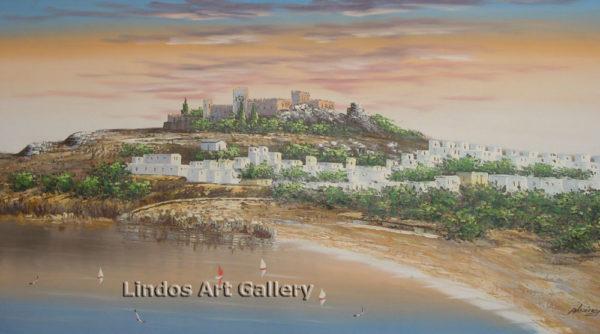 Lindos Sun and Acropolis Painting