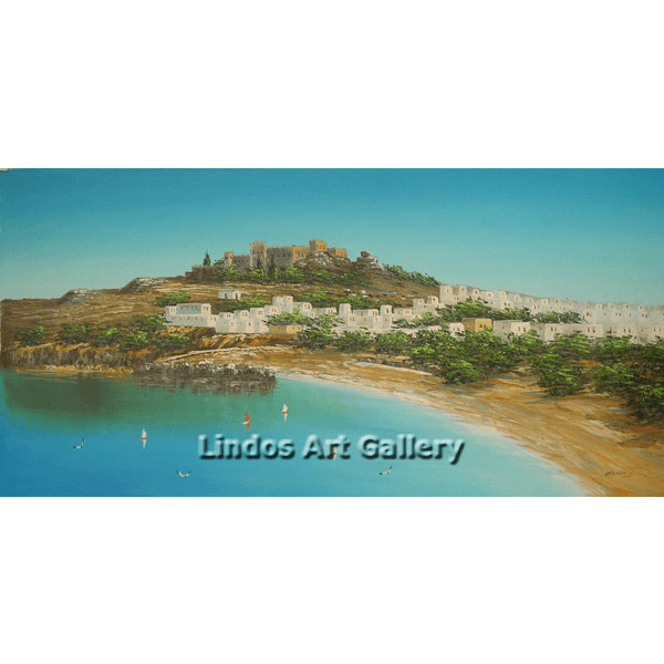 Lindos and Acropolis Oil Painting