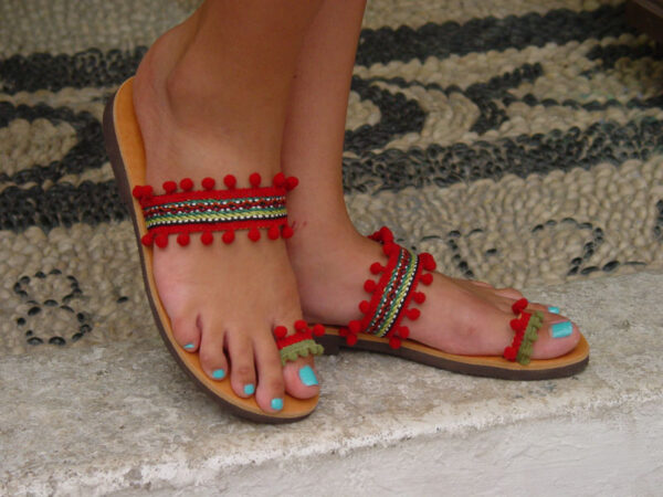 Greek Leather Sandals Red Pom Poms Boho
