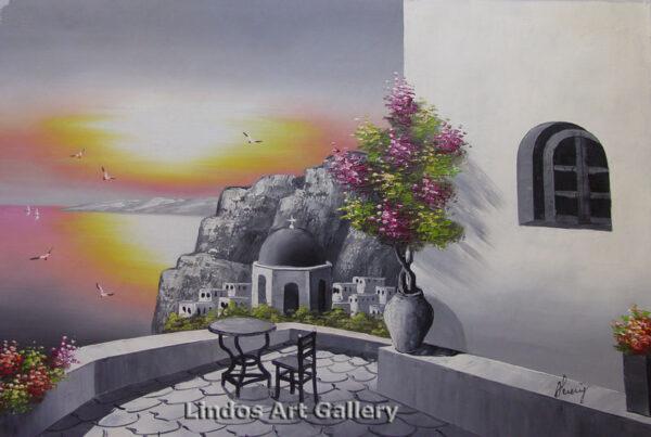Santorini Sunset Greytone Painting