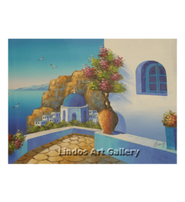 Santorini Blue Church Painting