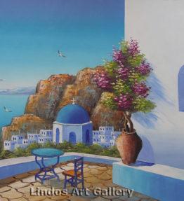 Santorini Blue Church Oil Painting