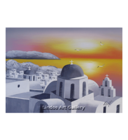 Santorini Churches Sunset Greytone Oil Painting