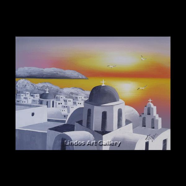 Santorini Churches Sunset Greytone Oil Painting