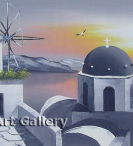 Santorini Church Windmill in Grey Painting