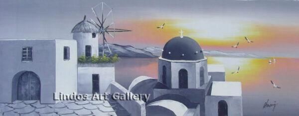 Santorini Church Windmill in Grey Painting
