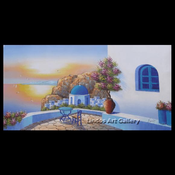 Santorini Sunset Seaview Oil Painting