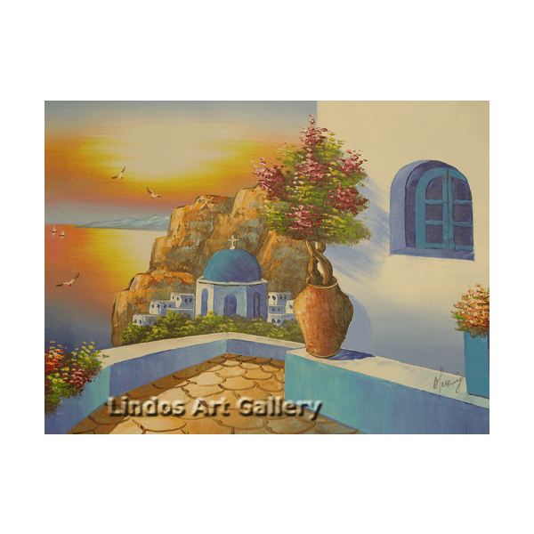 Santorini Sunset View Oil Painting
