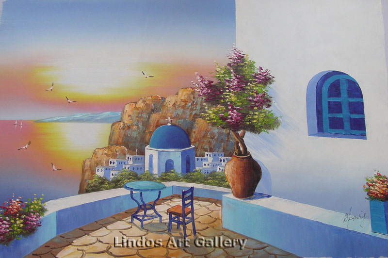 Santorini Sunset View Oil Painting