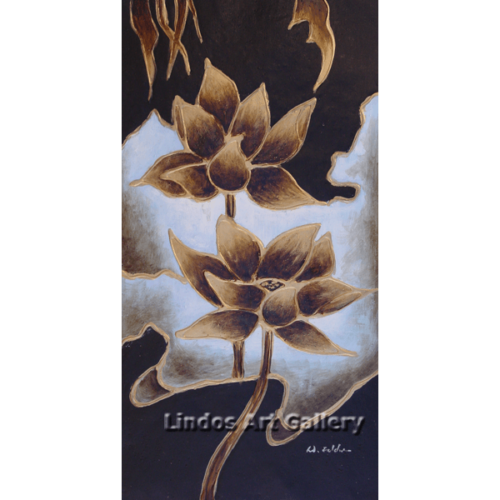 Textured Gold Flowers Painting