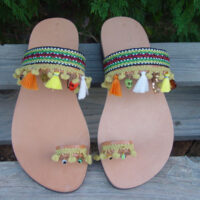Greek Leather Sandals Pom Pom Fringe Boho