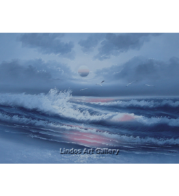 Blue Gray Seaview and Moon Oil Painting