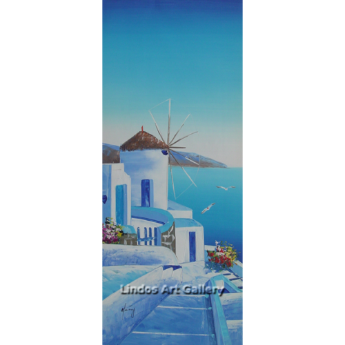 Blue Windmill Oil Painting