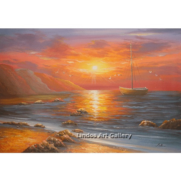Boat in the Sea Sunset Oil Painting