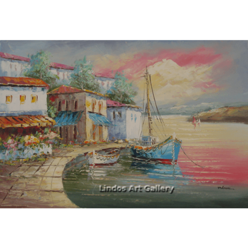 Boats in Harbour Oil Painting