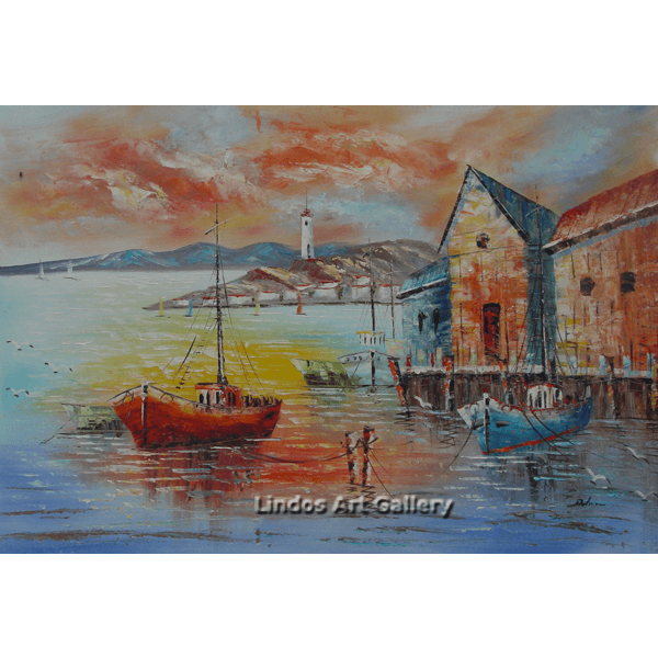 Fishing Boats by the Sea Oil Painting