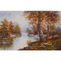 Forest trees and river oil painting