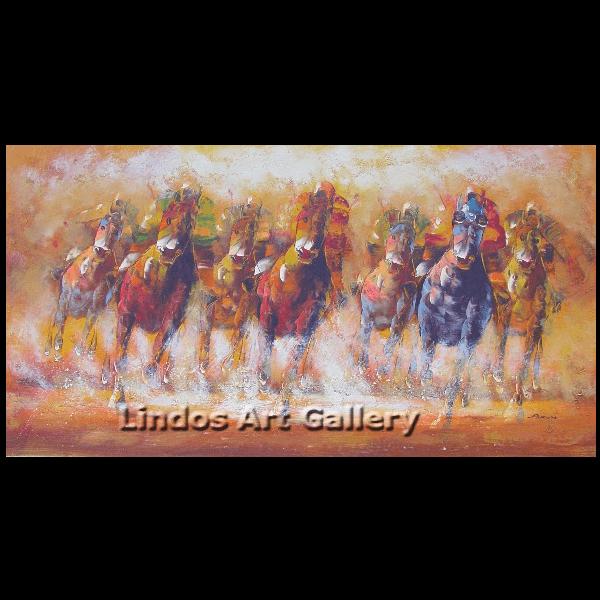 Horses with jockey playing polo