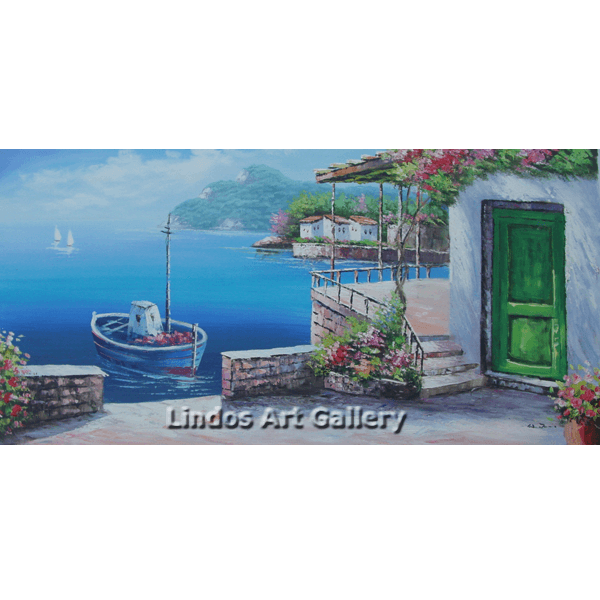 House with green door by the sea oil painting