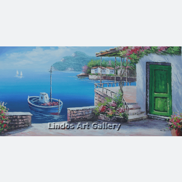 House with Green Door by the Sea Painting