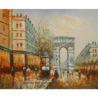 Paris City Street Color Oil Painting