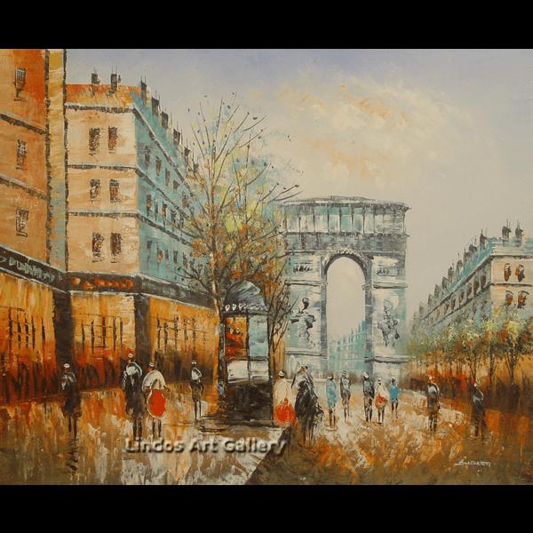 Paris City Street Color Oil Painting