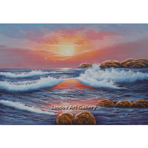 Seaview Pink Sky Seascape Oil Painting