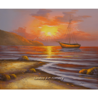 Boat in the Sea and Sun Oil Painting