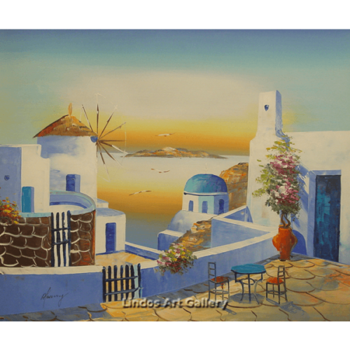 Santorini Church and Windmill Painting