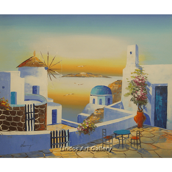 Santorini Church and Windmill Painting