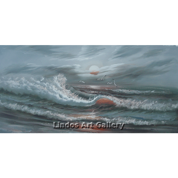 Seascape Gray Green Waves Oil Painting