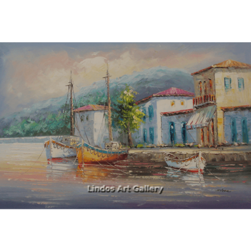 Three Boats in Harbour Oil Painting
