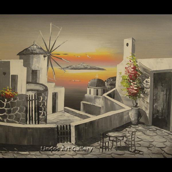 Greek Church Windmill Black White Oil Painting