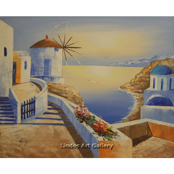 Greek Windmill and Church Oil Painting