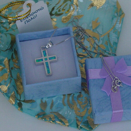 Blue Cross Necklace Sterling Silver 925
