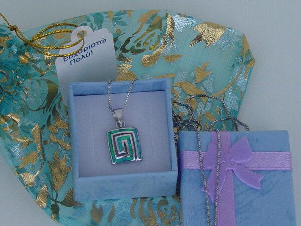 Greek Key Meandros Blue Necklace Sterling Silver 925