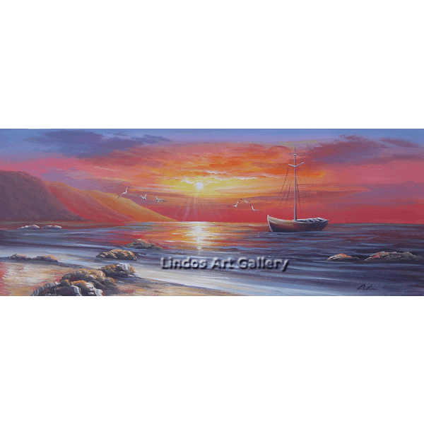 Boat in the Sea Sunset Painting
