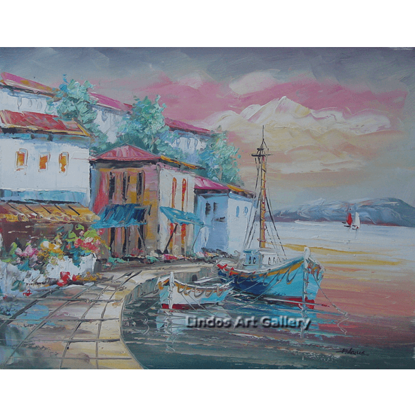 Boats in Harbor Oil Painting