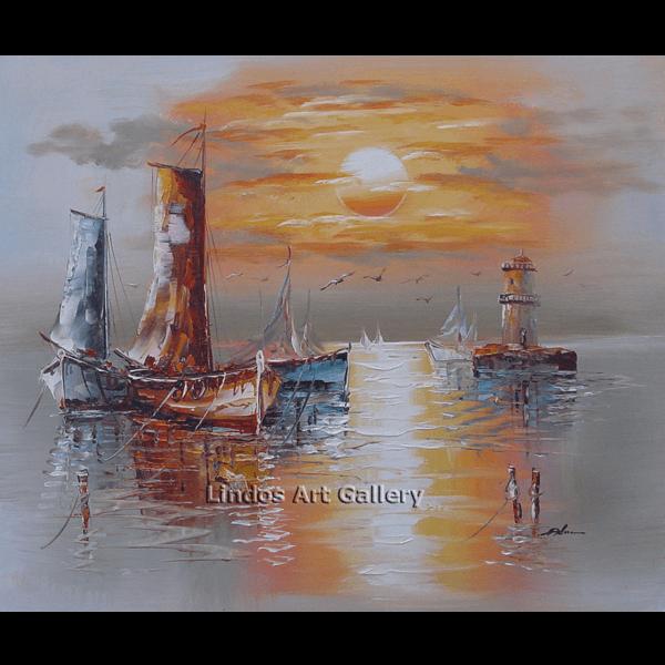 Fishing Boats in Sea Oil Paintinga