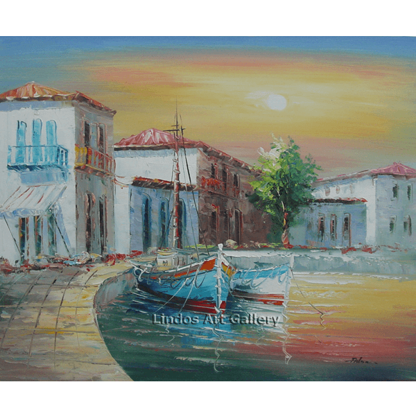 Fishing Boats in Harbor Oil Painting