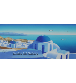 Santorini Blue Churches Painting