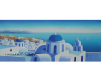 Santorini Churches Oil Painting